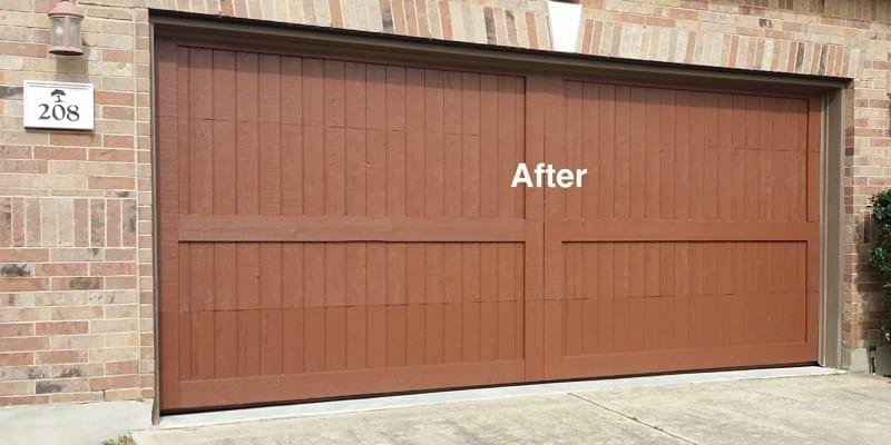 After Garage Wood Door Repair