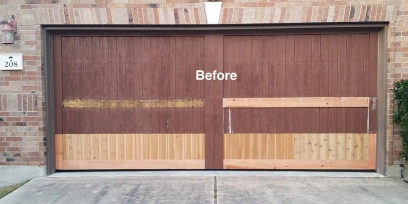 Before Garage Wood Door Repair